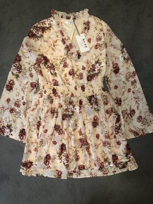 NA-KD Boho-Kleid Blumenmuster beige Gr.38