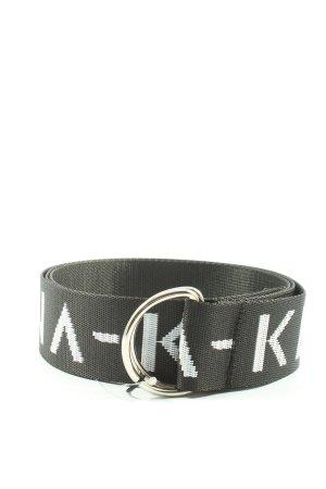 NA-KD Pasek materiałowy czarny-biały Wydrukowane logo W stylu casual