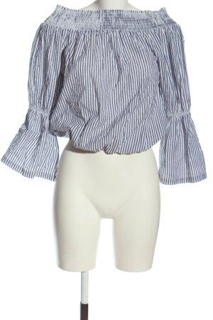 NA-KD Carmen Blouse white-light grey striped pattern casual look