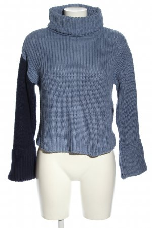 NA-KD Cropped Pullover blau Zopfmuster Casual-Look