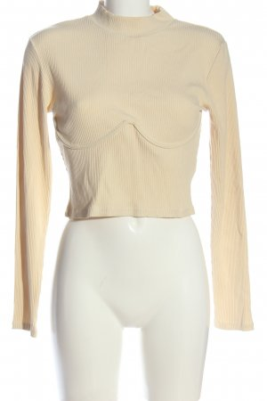 NA-KD Cropped Shirt blassgelb Streifenmuster Casual-Look