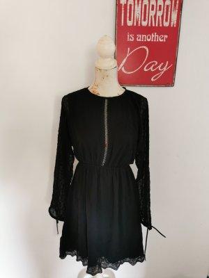 Na-Kd Damen Häkelspitze Kleid Lace Up Back Mini Dress schwarz Größe 36