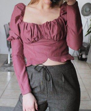 Nakd Blouse à manches longues violet-rouge framboise