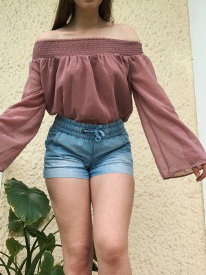 NA-KD Fashion Off Shoulder Bluse Boho gesmokt Altrosa G.36