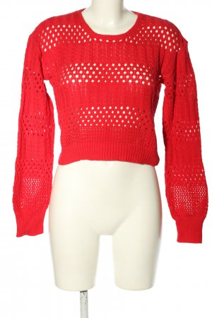 NA-KD Feinstrickpullover rot Zopfmuster Casual-Look