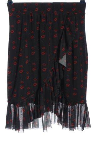 NA-KD Glockenrock schwarz-rot Motivdruck Casual-Look
