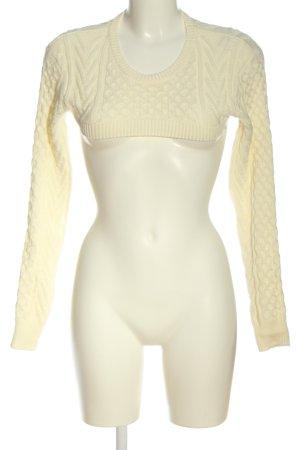 NA-KD Szydełkowany sweter kremowy Warkoczowy wzór W stylu casual