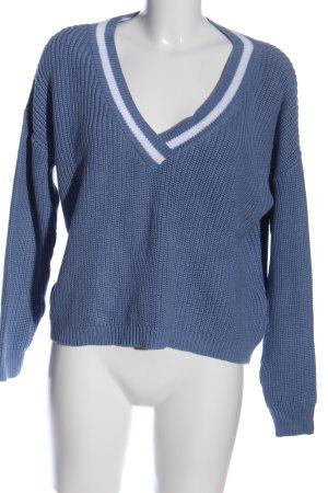 NA-KD Häkelpullover blau-weiß Streifenmuster Casual-Look