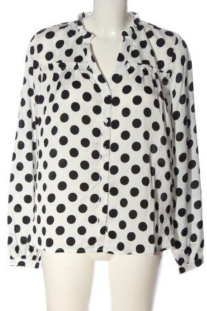 NA-KD Hemd-Bluse weiß-schwarz Punktemuster Casual-Look