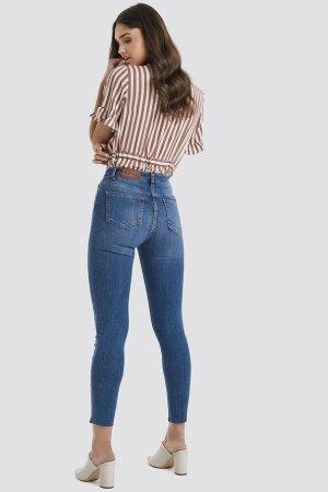 NA-KD - High Waisted Jeans in Dunkelblau (ungetragen)