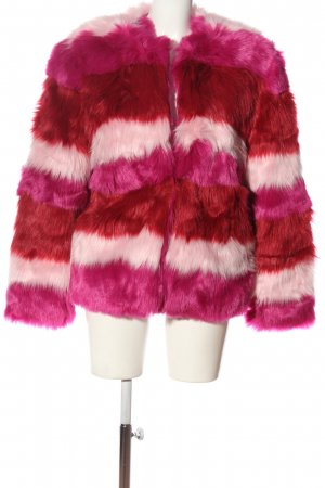 NA-KD Fake Fur Coat striped pattern casual look