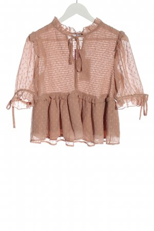 NA-KD Kurzarm-Bluse nude Punktemuster Casual-Look