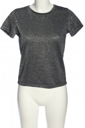 NA-KD Kurzarm-Bluse silberfarben-schwarz Casual-Look