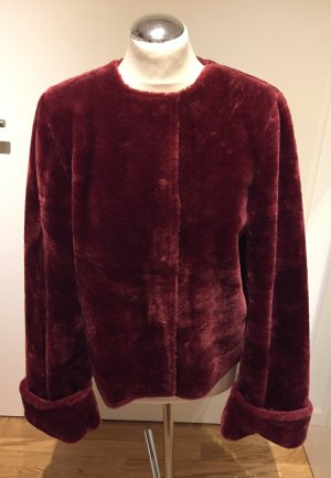 Na-KD: Kuschelige Fake Fur Teddyfell Jacke rot Bordeaux 38 Neu