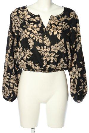 NA-KD Langarm-Bluse schwarz-creme Blumenmuster Casual-Look