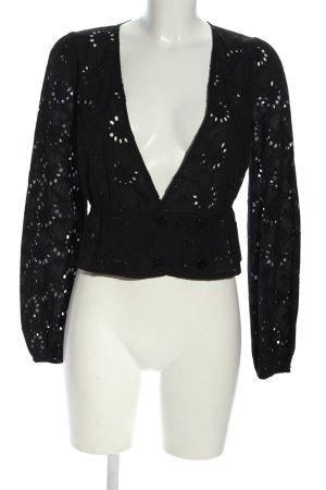 NA-KD Langarm-Bluse schwarz abstraktes Muster Elegant