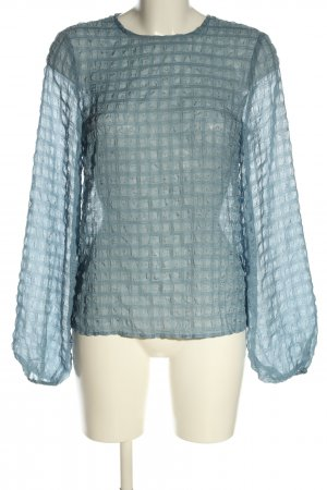 NA-KD Langarm-Bluse blau Karomuster Casual-Look
