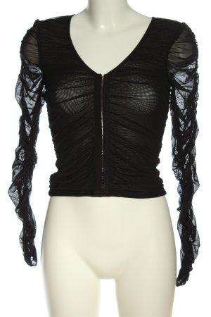 NA-KD Langarm-Bluse schwarz Elegant