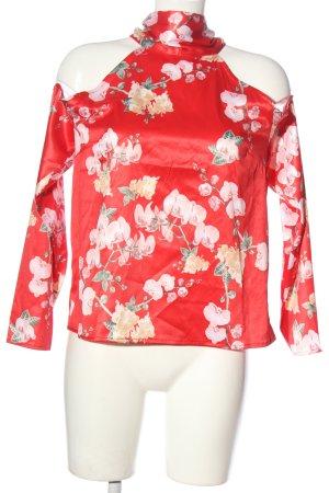NA-KD Langarm-Bluse rot Blumenmuster Elegant