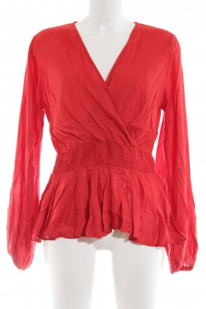 NA-KD Langarm-Bluse hellrot Casual-Look