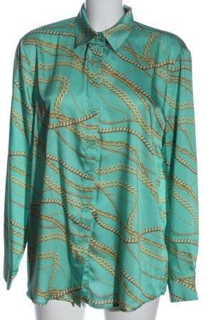 NA-KD Camicia a maniche lunghe turchese stampa integrale elegante