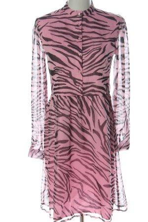 NA-KD Langarmkleid pink-braun Allover-Druck Casual-Look