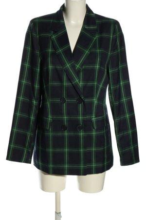 NA-KD Blazer long noir-vert motif à carreaux style décontracté