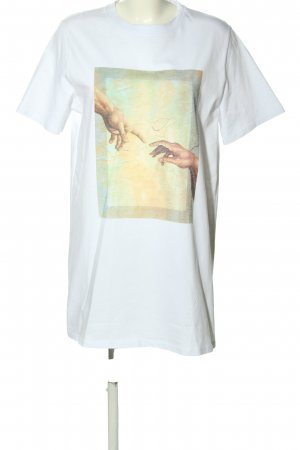 NA-KD Longshirt weiß-grün Motivdruck Casual-Look