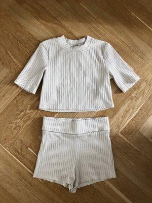 Na-kd Loungewear Set Creme S/M Crop Top Shorts