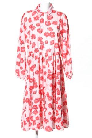 NA-KD Midikleid weiß-rot Blumenmuster Elegant