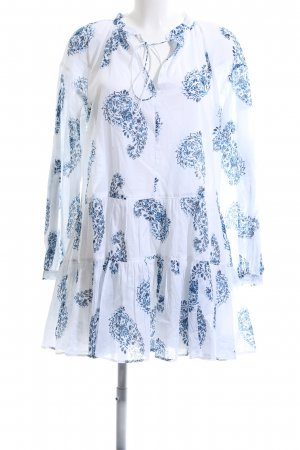 NA-KD Netzshirt weiß-blau Allover-Druck Casual-Look