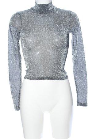NA-KD Top con colletto arrotolato argento effetto bagnato