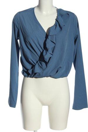 NA-KD Rüschen-Bluse blau Business-Look