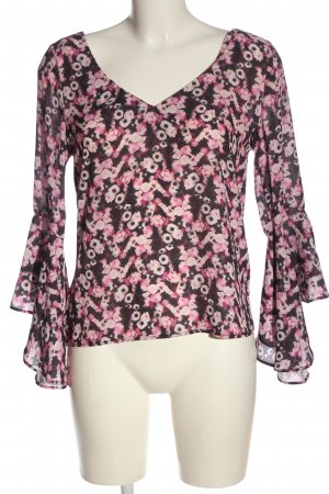 NA-KD Rüschen-Bluse pink-rot Allover-Druck Casual-Look
