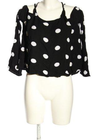 NA-KD Schlupf-Bluse schwarz-weiß Punktemuster Casual-Look