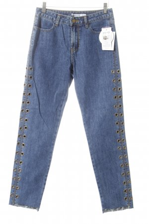 NA-KD Straight-Leg Jeans blau Metallelemente