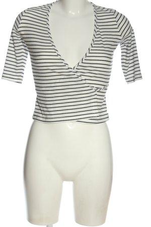 NA-KD Strickpullover weiß-schwarz Streifenmuster Casual-Look