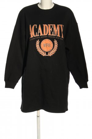 NA-KD Abito felpa nero-arancione chiaro Stampa a tema stile casual