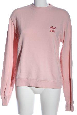 NA-KD Sweatshirt pink Schriftzug gestickt Casual-Look