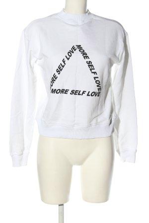 NA-KD Sweatshirt weiß-schwarz Schriftzug gedruckt Casual-Look
