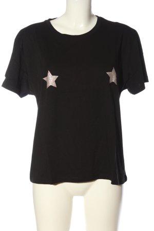NA-KD T-Shirt schwarz-silberfarben grafisches Muster Casual-Look