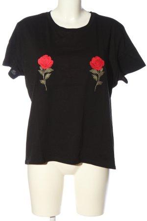 NA-KD T-Shirt schwarz Blumenmuster Casual-Look