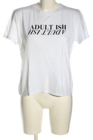 NA-KD T-Shirt weiß-schwarz Schriftzug gedruckt Casual-Look