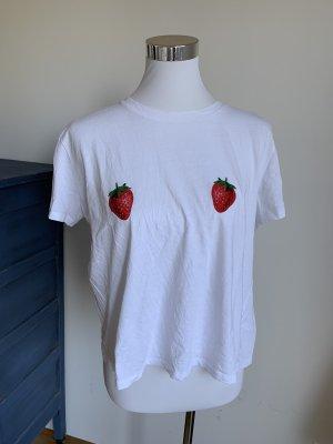 NA-KD T-Shirt Erdbeeren weiss Baumwolle