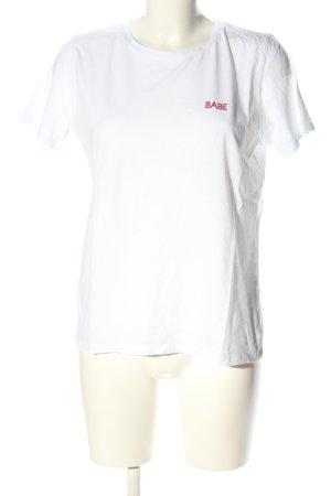 NA-KD T-Shirt weiß-rot Schriftzug gedruckt Casual-Look