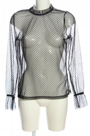 NA-KD Transparenz-Bluse schwarz Punktemuster Casual-Look