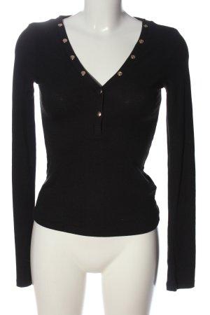NA-KD Jersey con cuello de pico negro look casual