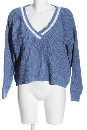 NA-KD Jersey con cuello de pico azul-blanco punto trenzado look casual