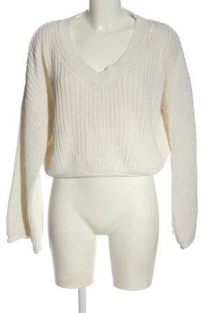 NA-KD Jersey con cuello de pico blanco punto trenzado look casual