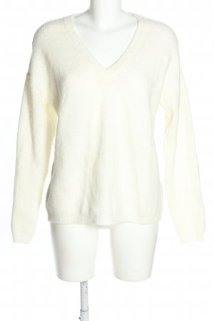 NA-KD V-Neck Sweater white cable stitch casual look